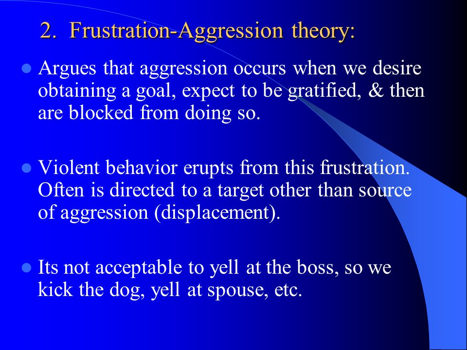 2. Frustration-Aggression theory: