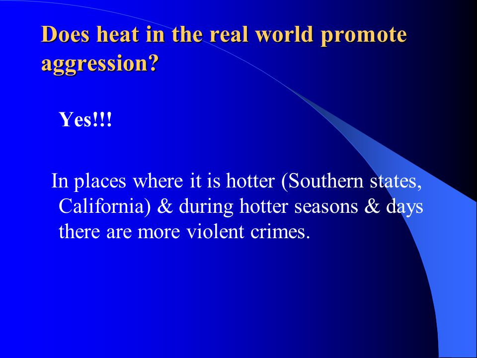 Does heat in the real world promote aggression