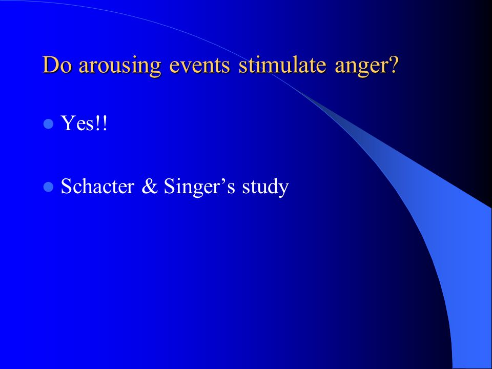 Do arousing events stimulate anger
