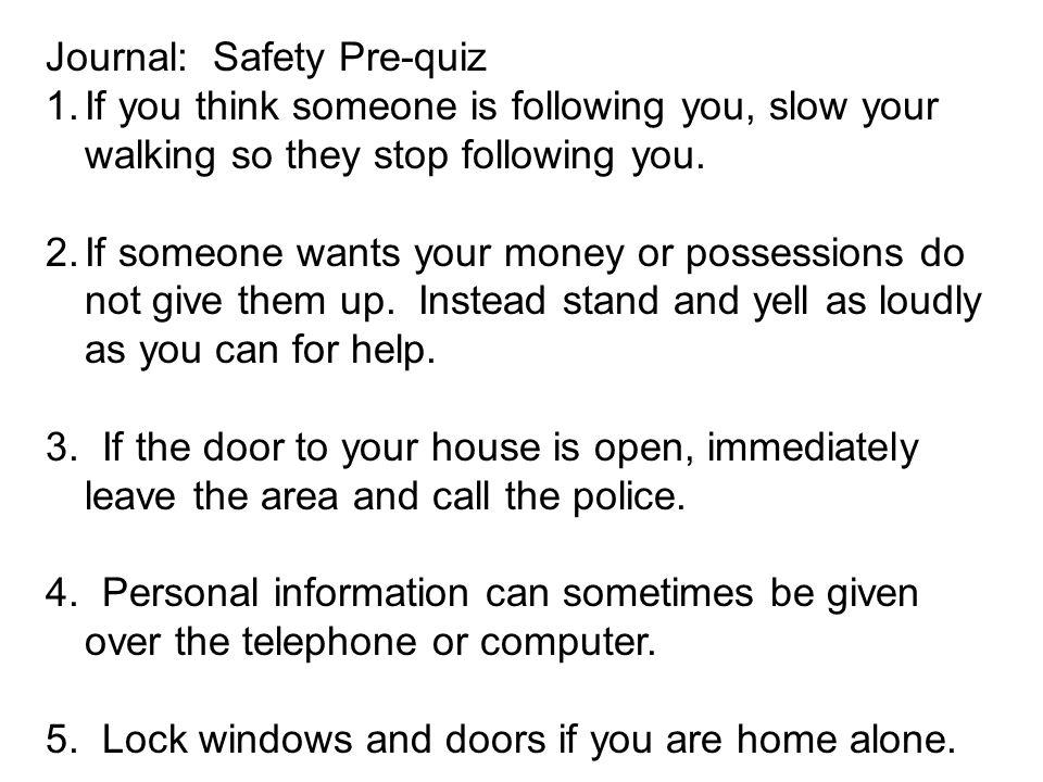 Journal: Safety Pre-quiz