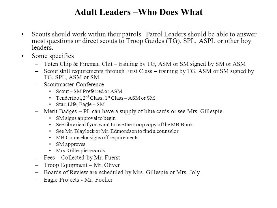 Adult Leaders –Who Does What