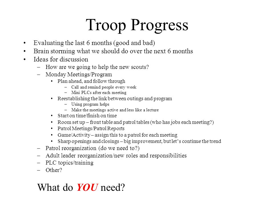 Troop Progress What do YOU need