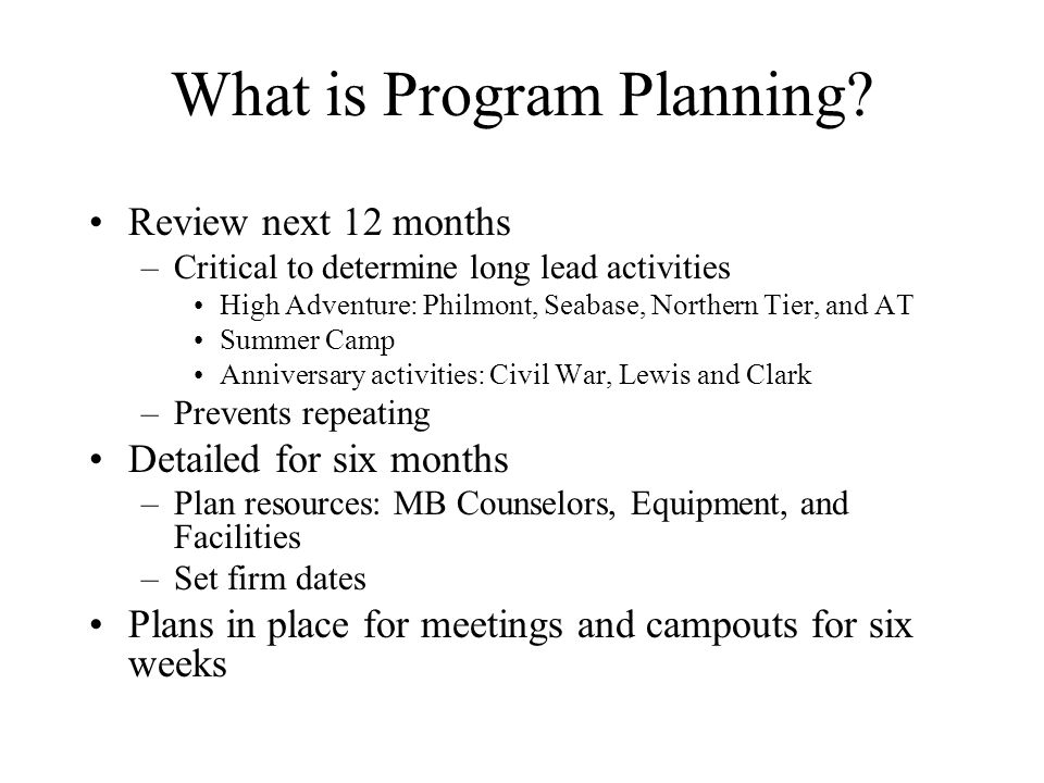 What is Program Planning
