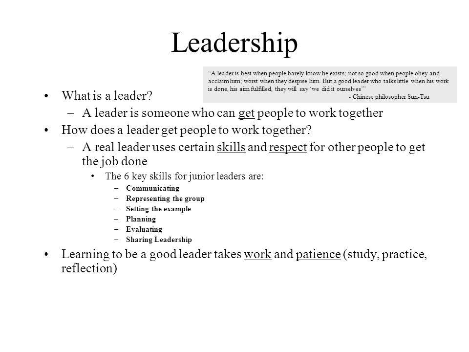 Leadership What is a leader