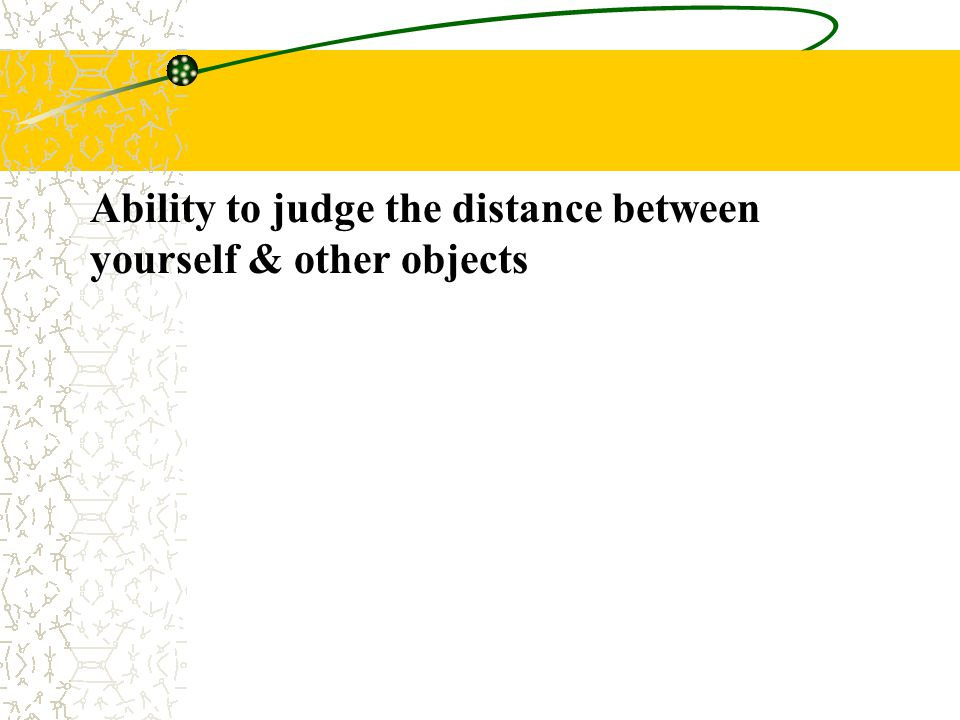 Ability to judge the distance between yourself & other objects