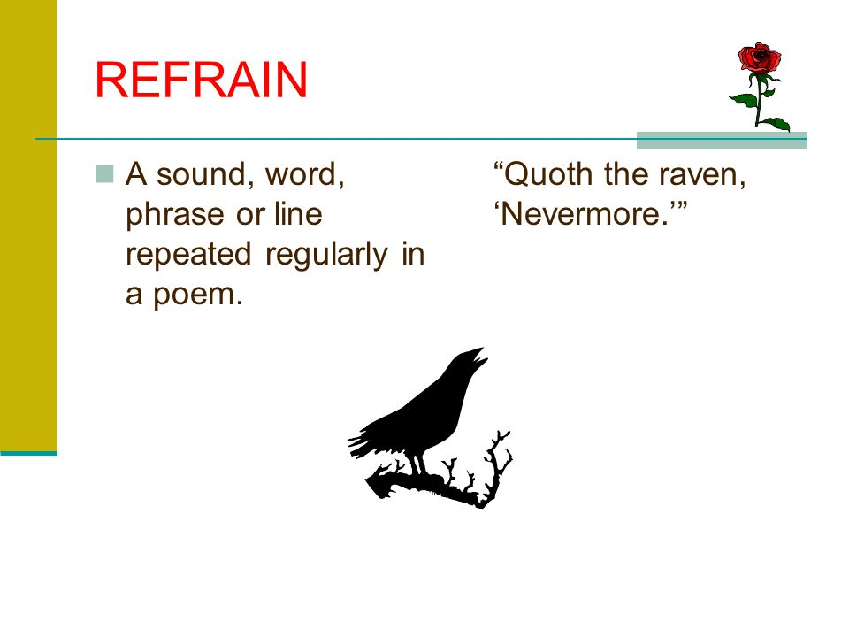 REFRAIN A sound, word, phrase or line repeated regularly in a poem.