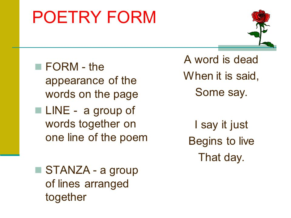 POETRY FORM A word is dead