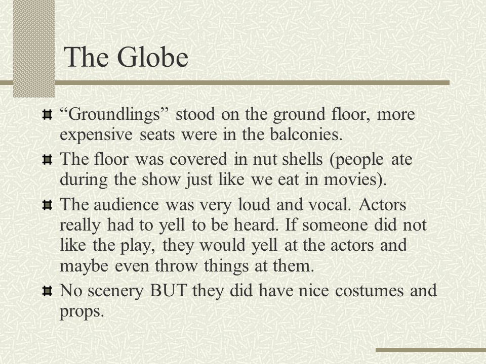 The Globe Groundlings stood on the ground floor, more expensive seats were in the balconies.