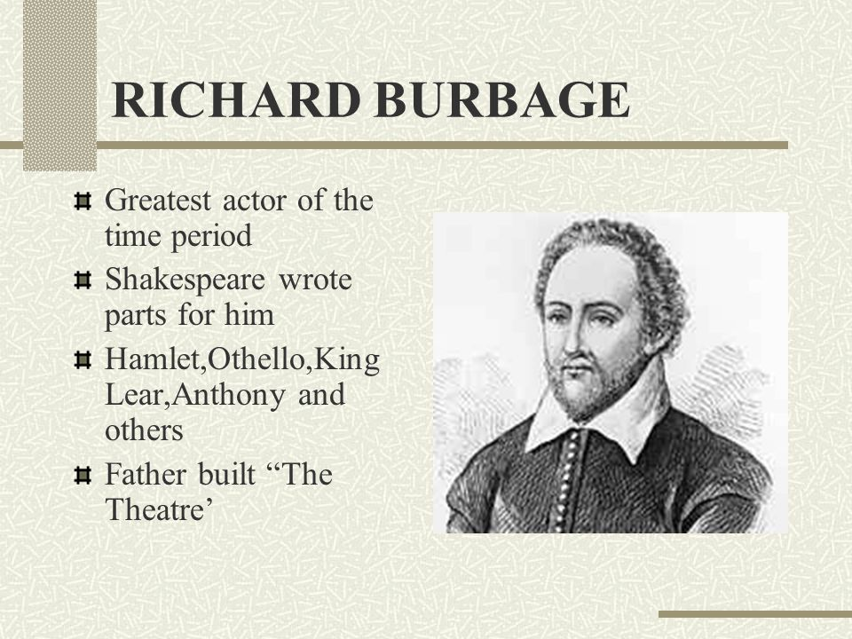 RICHARD BURBAGE Greatest actor of the time period