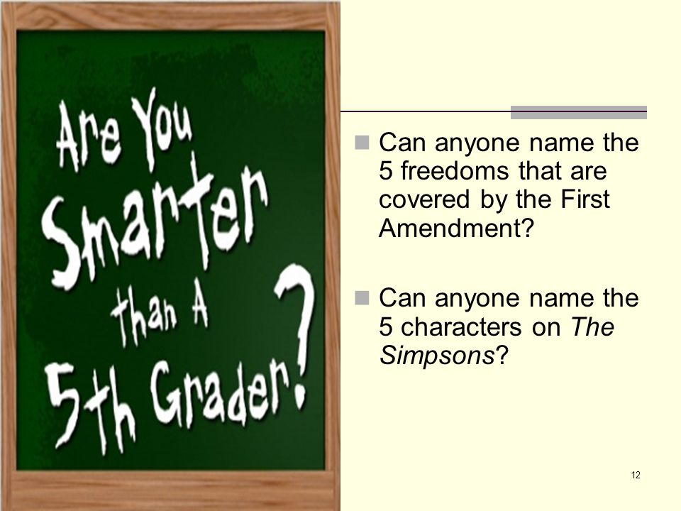 Can anyone name the 5 freedoms that are covered by the First Amendment