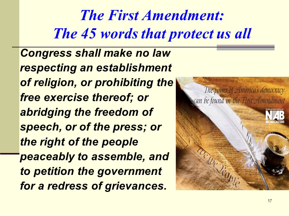 The First Amendment: The 45 words that protect us all