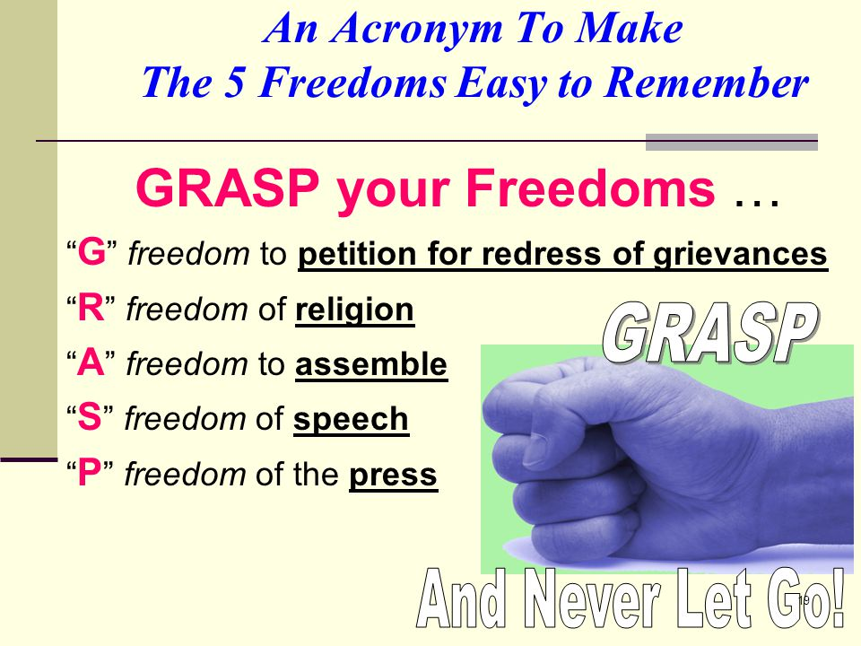 An Acronym To Make The 5 Freedoms Easy to Remember