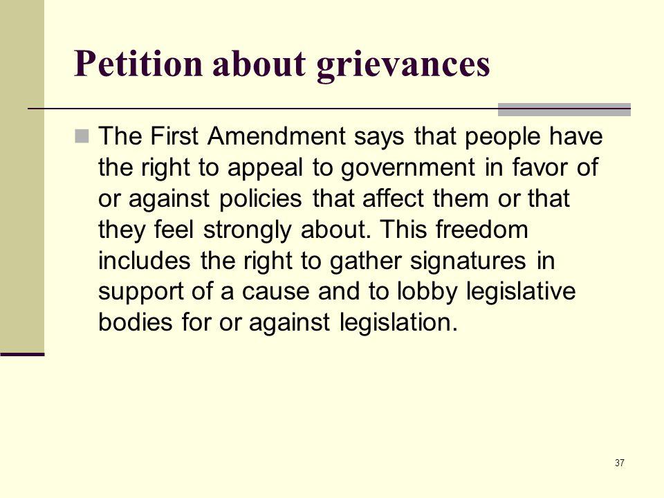 Petition about grievances