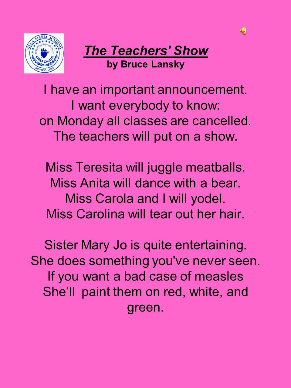 The Teachers Show by Bruce Lansky I have an important announcement