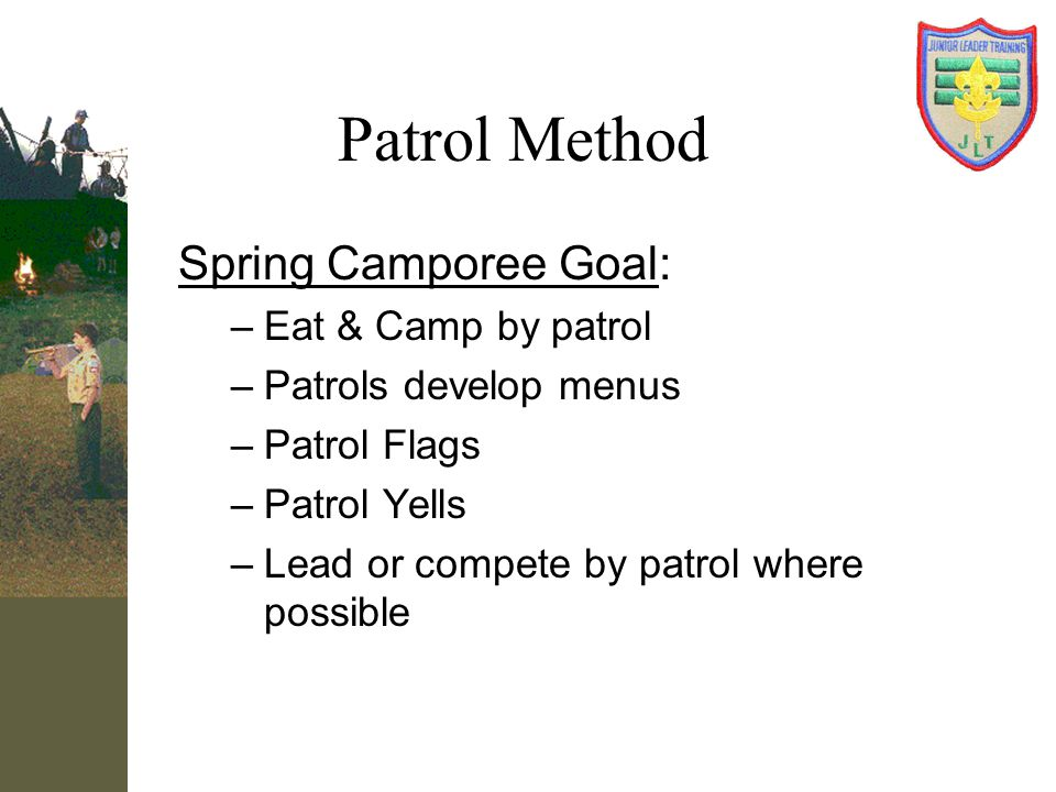 Patrol Method Spring Camporee Goal: Eat & Camp by patrol