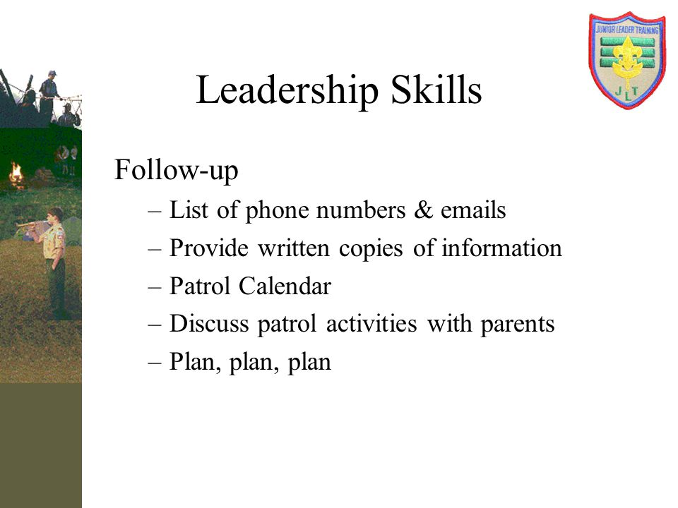 Leadership Skills Follow-up List of phone numbers & emails