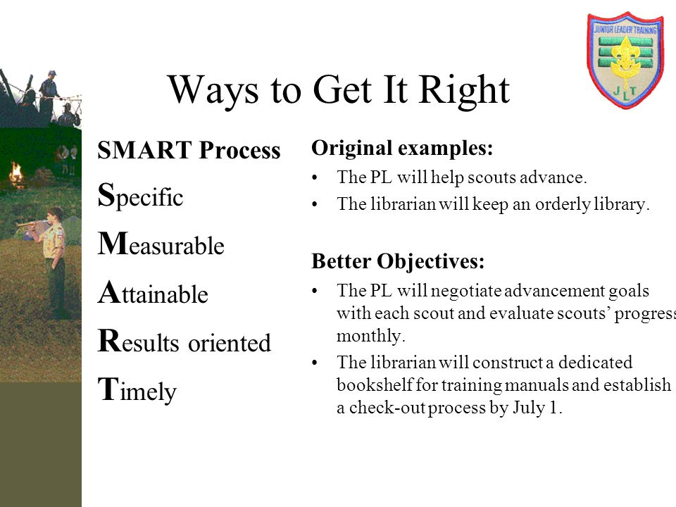 Ways to Get It Right Specific Measurable Attainable Results oriented