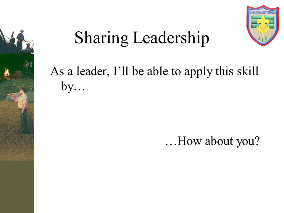 Sharing Leadership As a leader, I'll be able to apply this skill by…