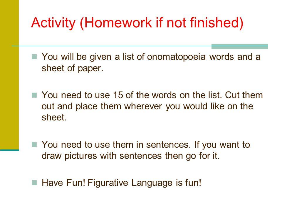Activity (Homework if not finished)