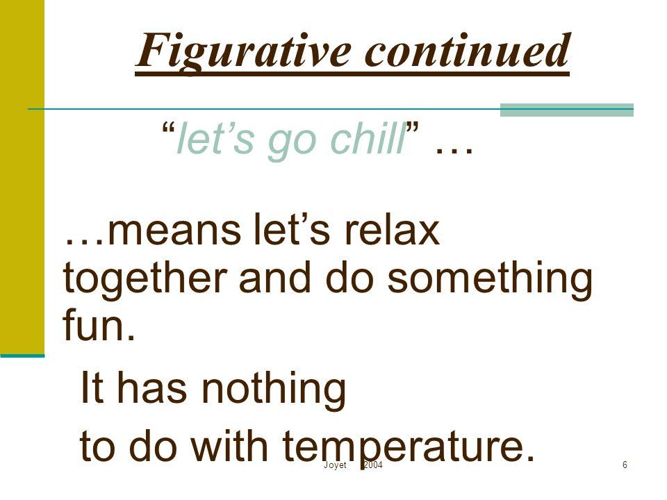 Figurative continued let's go chill …