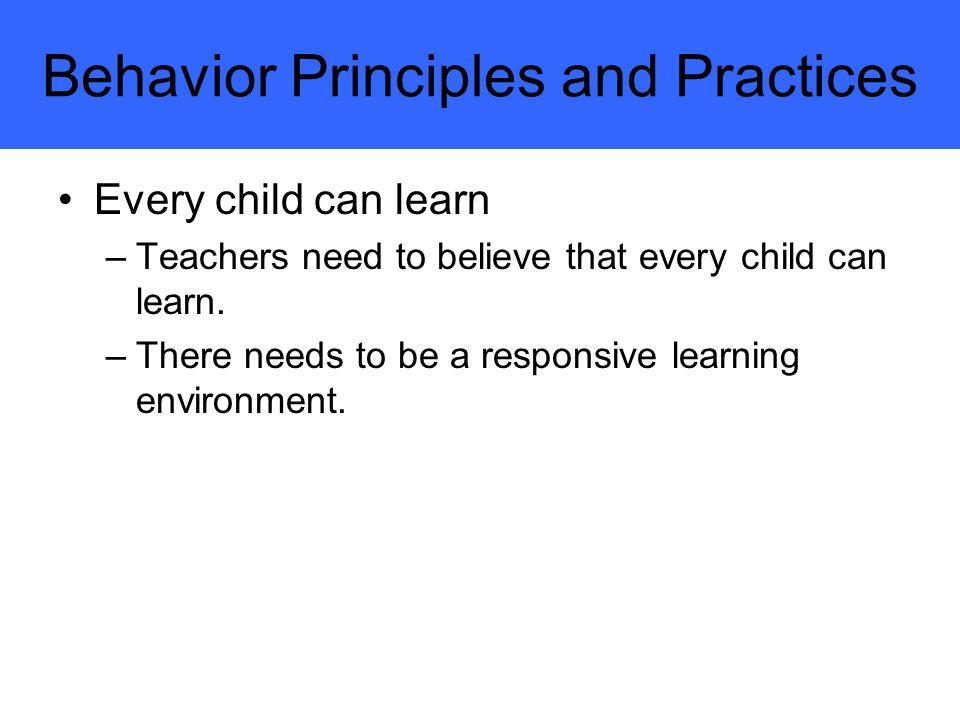 Behavior Principles and Practices