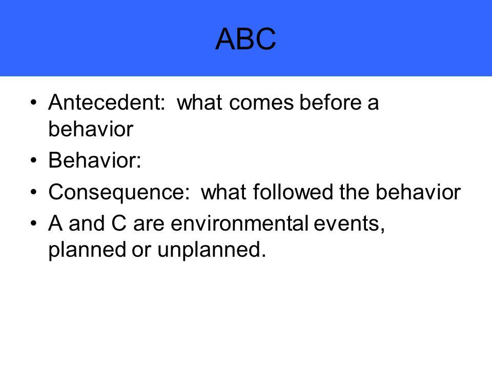 ABC Antecedent: what comes before a behavior Behavior: