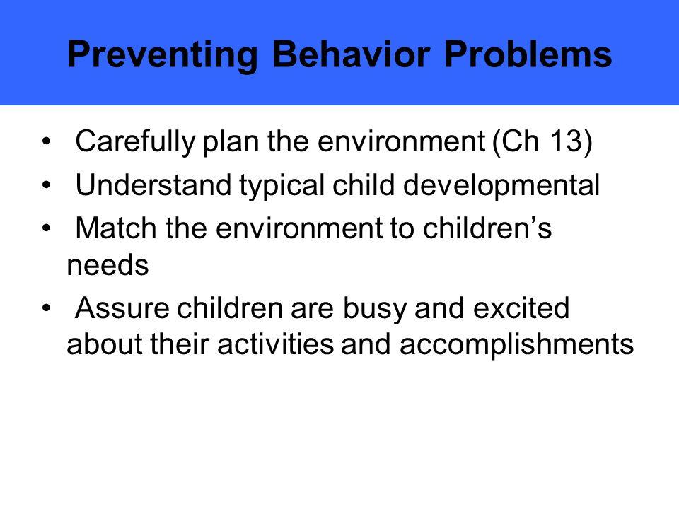 Preventing Behavior Problems