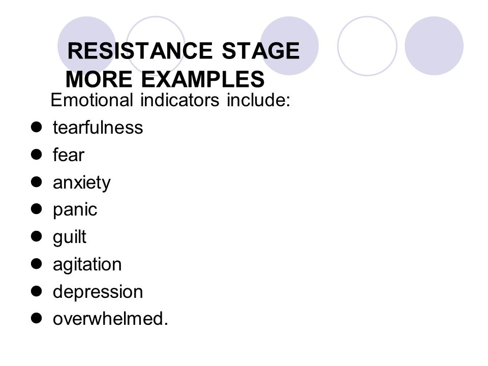 RESISTANCE STAGE MORE EXAMPLES