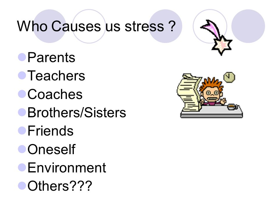 Who Causes us stress Parents Teachers Coaches Brothers/Sisters