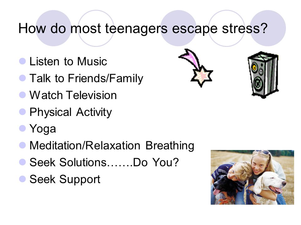 How do most teenagers escape stress