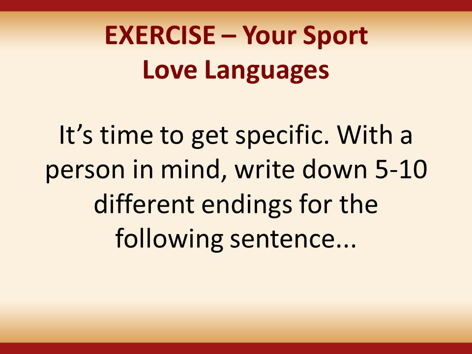 EXERCISE – Your Sport Love Languages