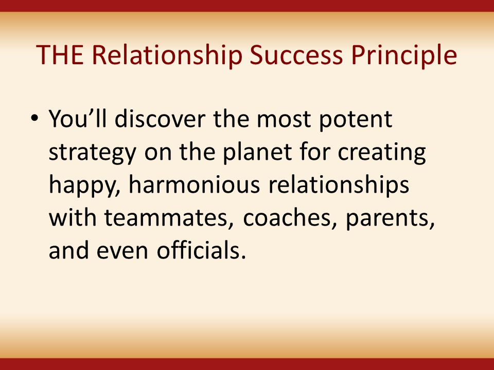 THE Relationship Success Principle