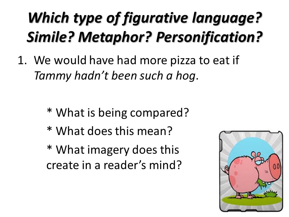 Which type of figurative language Simile Metaphor Personification