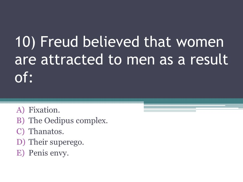 10) Freud believed that women are attracted to men as a result of: