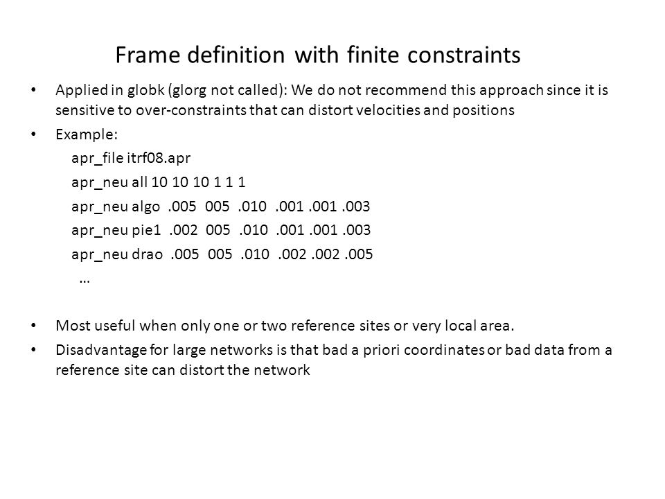 Frame definition with finite constraints