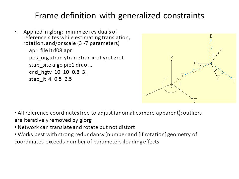 Frame definition with generalized constraints