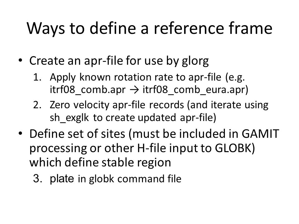 Ways to define a reference frame