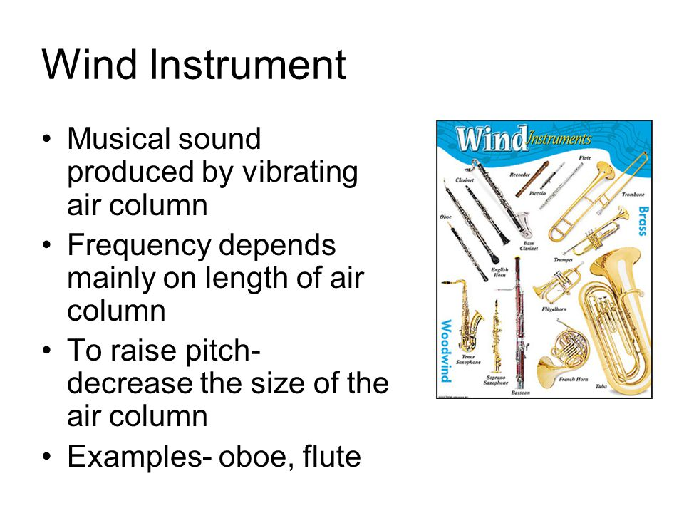 Wind Instrument Musical sound produced by vibrating air column