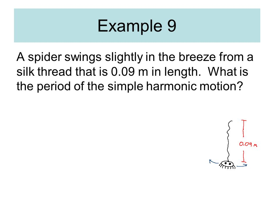 Example 9 A spider swings slightly in the breeze from a silk thread that is 0.09 m in length.