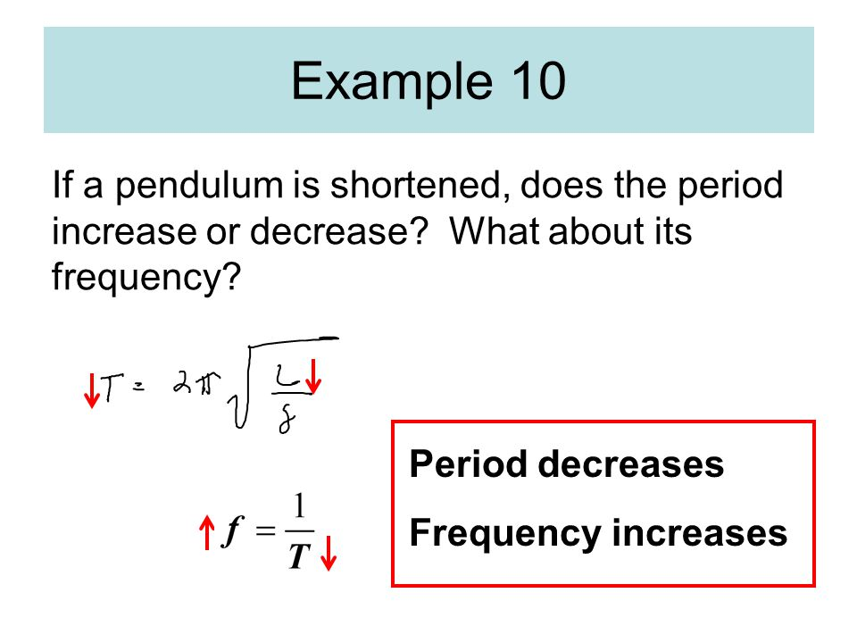 Example 10 If a pendulum is shortened, does the period increase or decrease What about its frequency