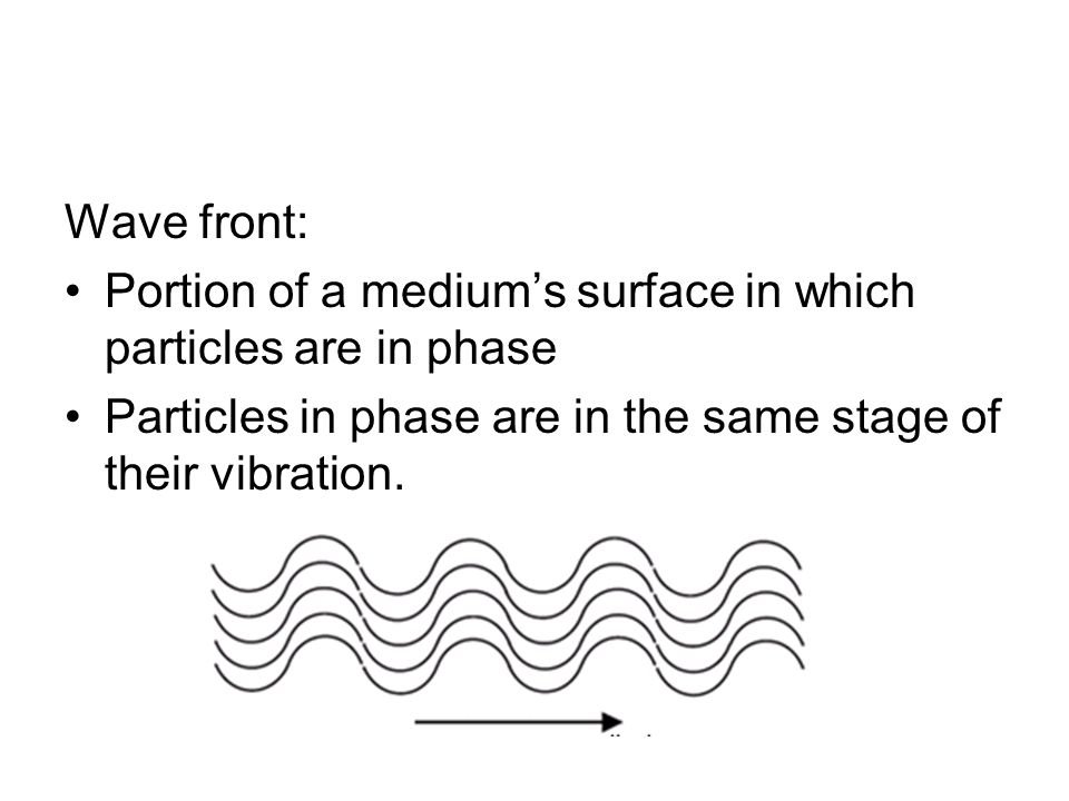 Wave front: Portion of a medium's surface in which particles are in phase.