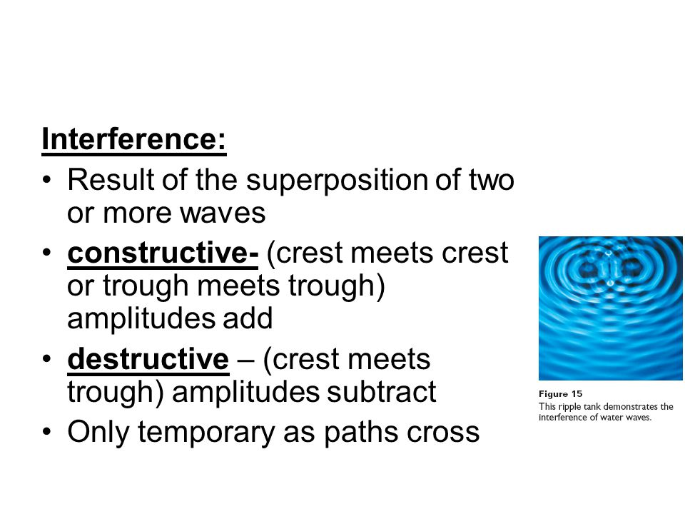 Interference: Result of the superposition of two or more waves. constructive- (crest meets crest or trough meets trough) amplitudes add.