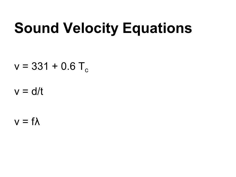 Sound Velocity Equations