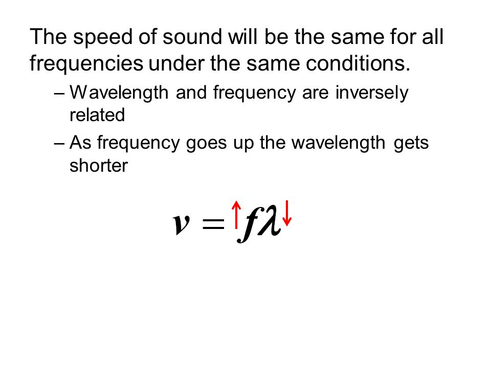The speed of sound will be the same for all frequencies under the same conditions.