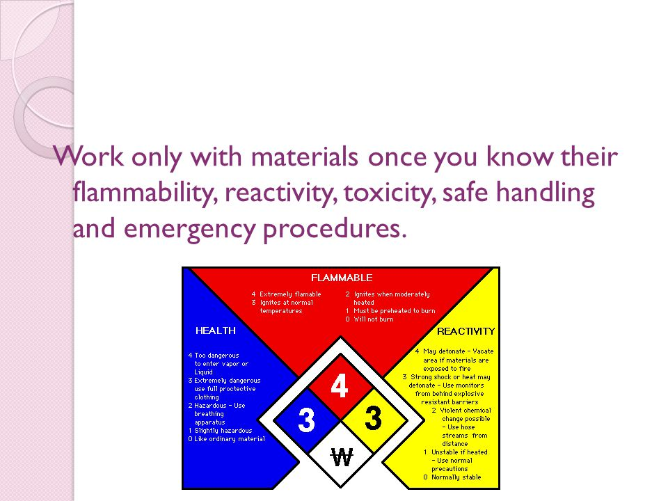 Work only with materials once you know their flammability, reactivity, toxicity, safe handling and emergency procedures.