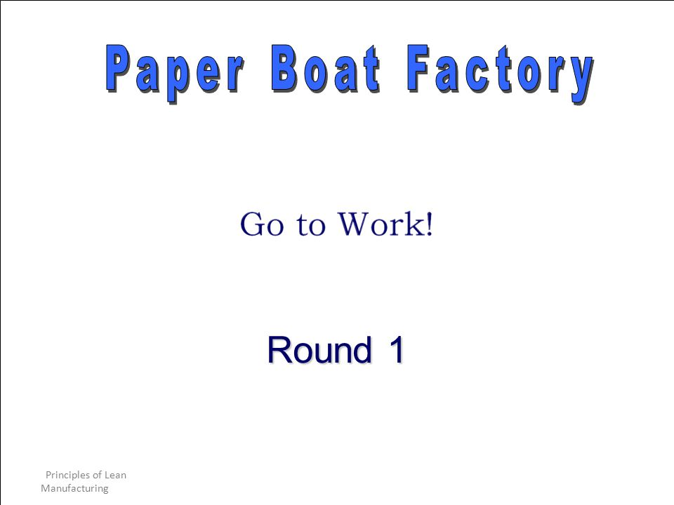 Paper Boat Factory Round 1 Principles of Lean Manufacturing