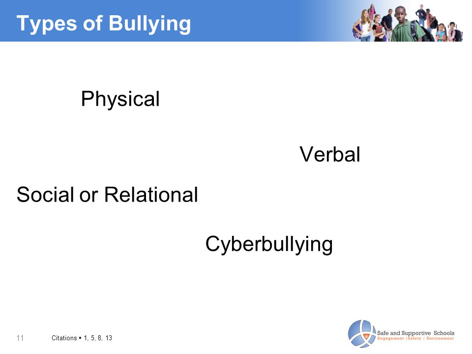 Types of Bullying Physical Social or Relational Cyberbullying Verbal