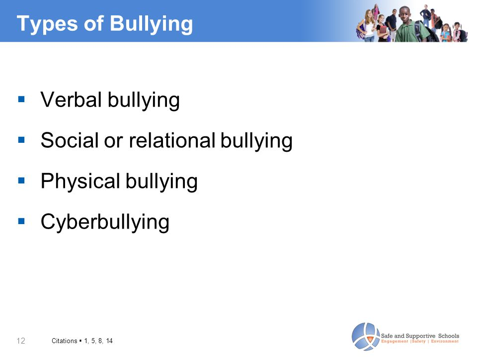 Social or relational bullying Physical bullying Cyberbullying