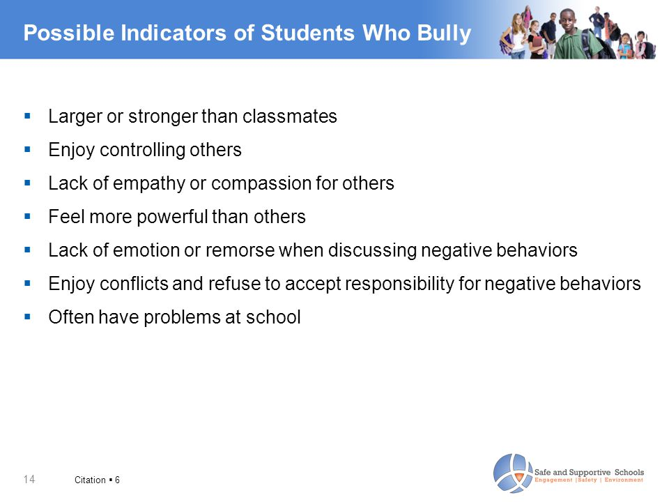 Possible Indicators of Students Who Bully
