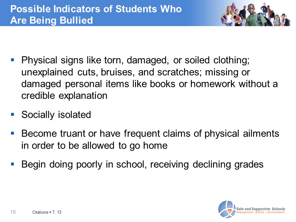 Possible Indicators of Students Who Are Being Bullied